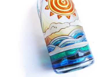 Painted Bottle, Glass Bottle, Water Bottle, Mandala Art, Clear Glass Bottle, Holiday Centerpiece, Hand Painted Art Glass, Festive Home Decor