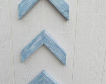 Arrow Chevron Blue & White Distressed ~ Set of 3 ~ FREE SHIPPING