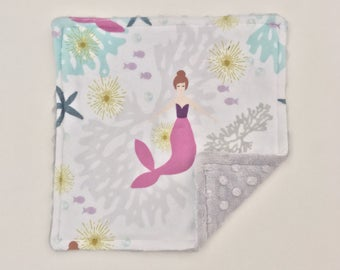 READY TO SHIP Minky Lovey - Purple Mermaids