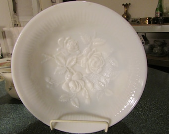 Vintage Imperial Glass Ohio Rose Milk Glass White Satin 3 Toed Footed Bowl