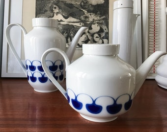 German China Teapot and Coffeepot by Arzberg Stockholm Lauffer Pattern Vintage Mid Century