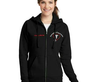 Ladies Emergency DepartmentThemed Full Zip Hooded Sweatshirt-- zip up ladies sweatshirt jacket with several color options for ER Nurses