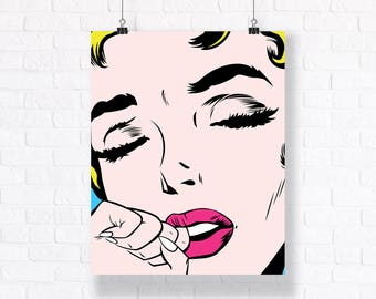 Customizable Pop Art Mega Poster, 24x36 inches Comic Book Illustration to Decorate Your Living/Working Space