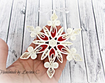 White red  snowflake, paper  ornament, for christmas,christmas ornament, for tree,handmade star,paper star,christmas star,tree snowflake