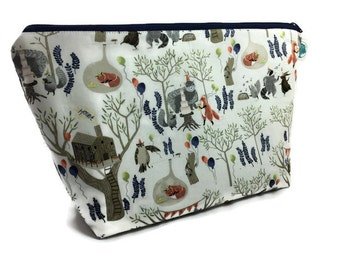 Extra Large Cosmetic Bag, Toiletry Bag, Travel Bag, Makeup Bag, Wet Bag, Waterproof Bag in Forest Party/Woodland Creatures