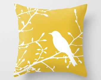 Bird on Branch Pillow  - Yellow Decor - Mustard Yellow Pillow  - Bird Pillow  - Modern Home Decor - By Aldari Home