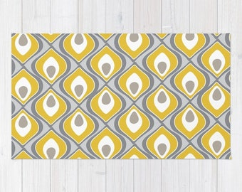 Yellow and Grey Area Rug - Modern Rug - Yellow Decor - Nursery Area Rug - Contemporary Home Decor