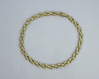 14k Yellow Gold Italian Chain Bracelet, Chain Link Bracelet, Vintage Italian Chain Bracelet, Ready to Ship Size 7.25