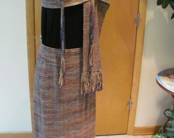 Hand-woven skirt and scarf with belt, Kathleen Weir West