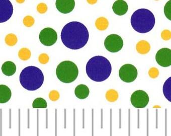 Mardi Gras  DOTS – Purple, Green and Gold Dots, Fabric Finders, 100% Cotton, Mardi Gras Polka Dots