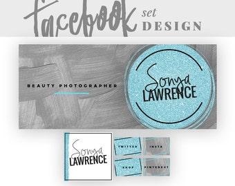 Glitter Facebook Branding Design | Teal Timeline Cover | Teal Glitter Banner | Custom Facebook Page | Glitter Logo Design | Teal Logo Design