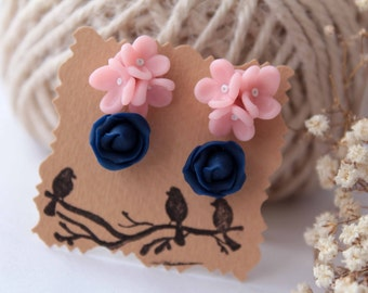 Stud earrings set, Navy blue studs, forget me not earrings, rose stud, minimalist, rose earrings,  flower earrings, tiny, polymer clay