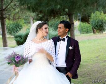Bridal shrug, wedding shawl, bridal bolero, winter wedding, crochet shawl, white bridal shawl, bridal accessories, bridal wrap, bridal cover