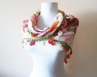 Traditional Turkish Yemeni, Oya scarf, Handmade Scarf, Crochet Oya Scarf, Wrap Scarf, pink scarf, cotton floral scarf, handmade lacework oya