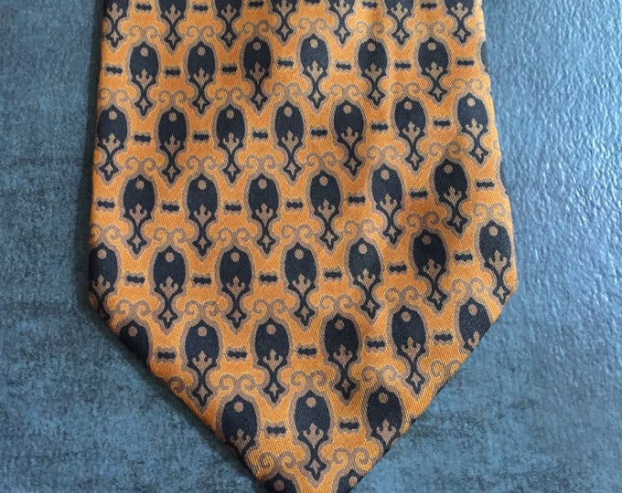 Vintage Estate AUTHENTIC Chipp Made in Italy Orange Brown Black Tie