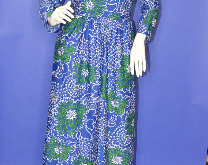 Vintage Estate Passport Blue Green White Floral Abstract Print Hostess Maxi Dress