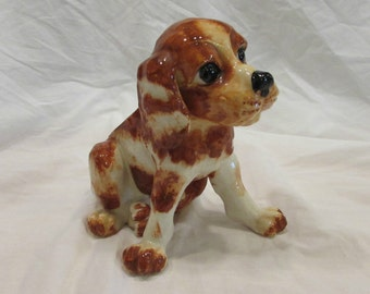 Dog Planter, Brown and White, Floppy Ears, Unusual, Collectable, Japan, 1950's