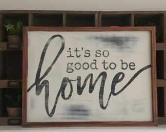 It's so good to be home- vintage sign { HOME DECOR}