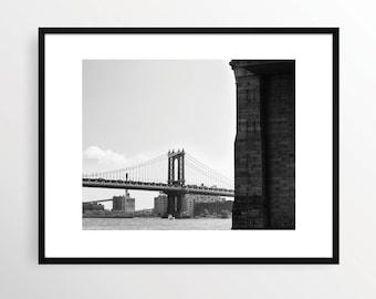 New York City Photography Print Manhattan Bridge NYC Black and White B&W