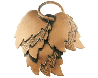 Copper Stacked Leaf Brooch
