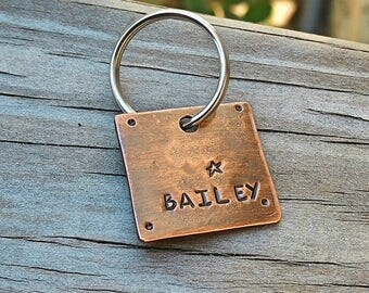 Dog Name Tag - Pet Id Tag - Copper Pet Id Tag - Small Breed Dog - Cat Tag - Hand stamped Pet Tag -