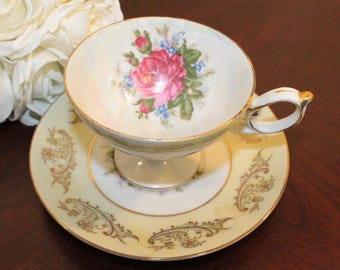 Royal Halsey Lipper & Mann Very Fine China Cup and Saucer – Yellow with Gold Accents and Pink Rose  - 2 Available