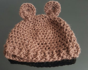 Brown Bear Baby Crochet Hat