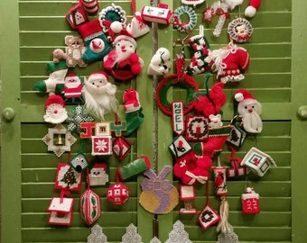 Vintage Lot of more than 50 Handmade Christmas Tree Ornaments / Holiday Vintage Decor