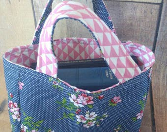 Reversible Bible Tote, Scripture bag, book bag, small purse- navy blue and pink flowers
