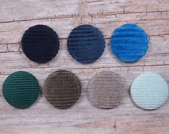 Corduroy fabric covered buttons, navy blue corduroy, denim corduroy, green corduroy, mint green corduroy (size 60, 40, 32, 20, or 18)