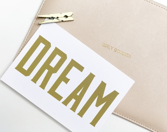 Gold Dream Print Quote Postcard