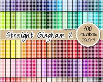 SALE 100 straight gingham digital paper rainbow gingham pattern kitchen print fabric digital paper 12x12 bright colors pastel gingham clipar
