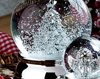 Precious snow ball-fir tree-silver plated and tarnished-6.5 cm-great snow globe Christmas tree-metal