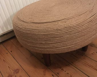 "handcrafted  round rope tyre 20"" stool /side table"