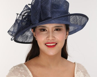 Fancy Wide  Brim Kentucky Derby Floppy Slant Top Bucket with Flowers  Millinery Church  Hat Navy Blue