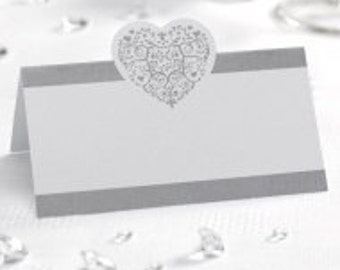 White & Silver Heart Place Cards 50pk