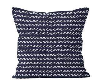45 colors Nautical Navy Ocean Waves Pillow Cover, Coastal living home decor, navy blue decorative pillow, beach ocean decor