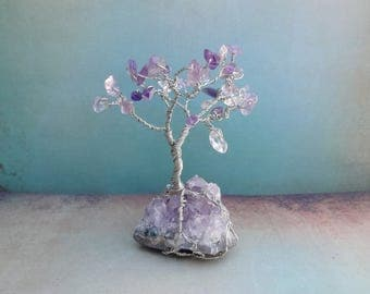 Amethyst druzy Wire Tree of Life home decor wire sculpture 4 inch