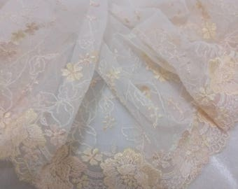 1.5yards  beige  flower embroidered  Lace Trim DIY Sewing wedding dress 17cm  6.8""