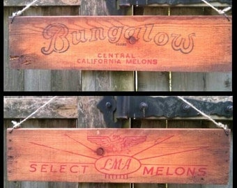 Old Crate Sign, Bungalow California Melons, LMA Select, Wood Fruit Box, Farmhouse Cottage Decor, Rustic Worn, Signs, Wall Hanging ~ REDUCED