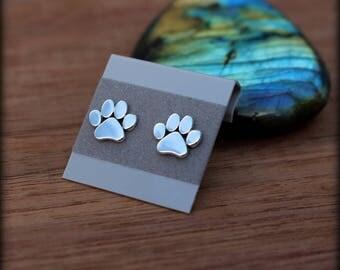 Paw print post earrings, Sterling silver cat or dog paw earrings, Pet lover earrings, Veterinarian earrings
