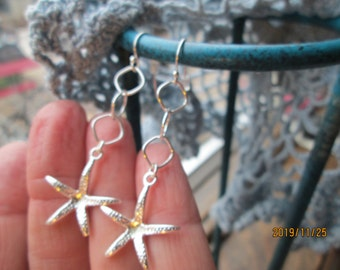 Amazing Handcrafted Starfish 925 Sterling SilverDrop Dangle Earrings 2 1/8 Inches Long, Wt. 4 Grams