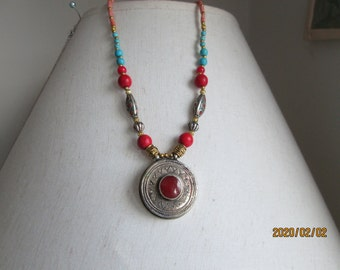 "Handmade Native Tibetan Silver Genuine Turquoise & Red Coral Pendant 18"" Necklace 33.6 G, 925 Lobster Clasp"