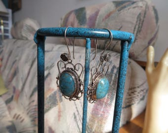 """Vintage Genuine Turquoise Signed """"Mexico Sterling  EMV"""" Dangle Earrings on New Flower 925 Ear Wires, Weight 14.2 Grams. Aztec Design Stamped"""