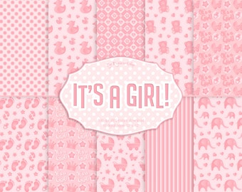 "Baby Girl Digital Paper ""It's A Girl"" pink digital paper, baby shower, baby digital paper, baby girl shower, baby background, birthday"