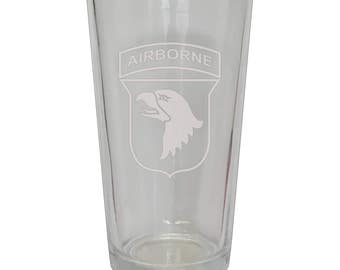 101st Airborne Frosted Beer Glass
