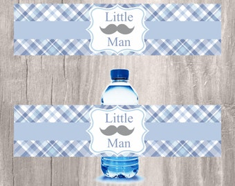 Little Man Water Bottle Labels, Prinable Mustache Baby Shower Decorations, INSTANT DOWNLOAD, Party Favors Bottle Labels, Blue Baby Shower