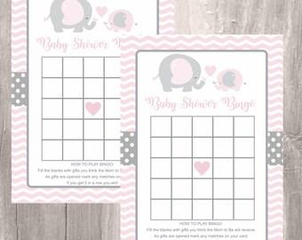 Pink Elephant Baby Shower Bingo, Printable Baby Shower Game, Instant Download, Elephant Printable Bingo, Baby Shower Girl