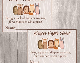 Diaper Raffle Tickest, Woodland Baby Shower Printable Diaper Raffle Tickets, Instant Download, Forest Animals Tickets, Neutral Baby Shower