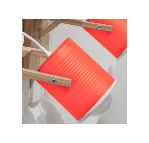 Wall lamp/ sconce light, mat phosphorescent red color, eco friendly and handmade: recycled from tomato can! OFFER for more units! ( 2 - 10 )